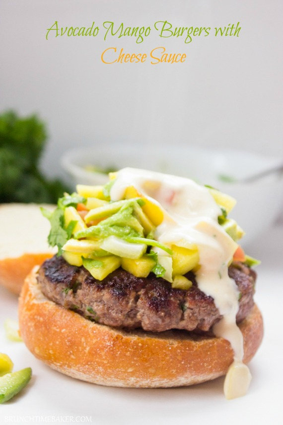 Avocado Mango Burger with Cheese Sauce