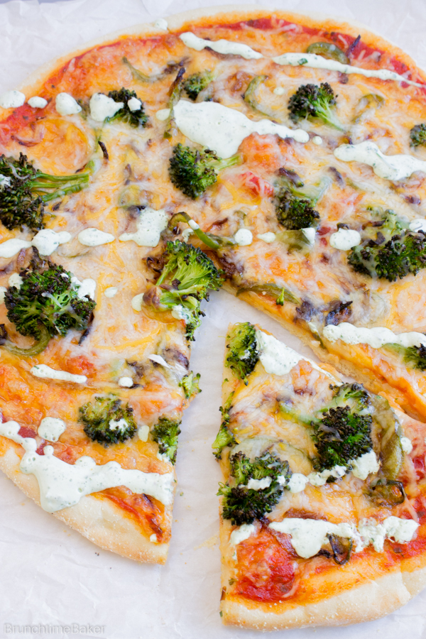 Brooklyn Style Pizza with Caramelized Jalapenos Onions Peppers and Broccoli