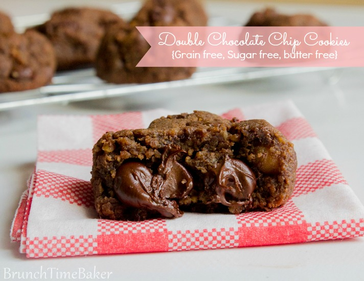 Double Chocolate Chip Cookies { Grain free, Sugar free, butter free }