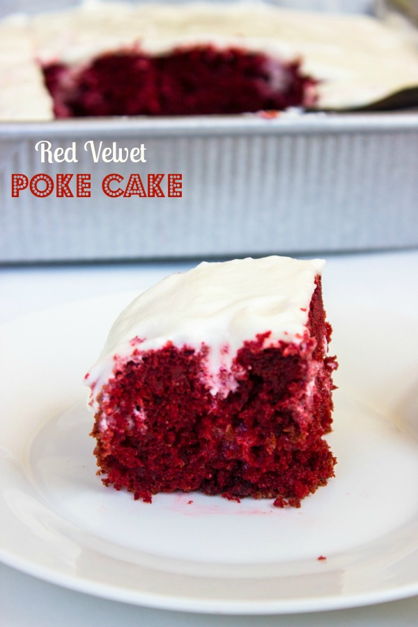 Red Velvet Poke Cake with Cream Cheese Frosting