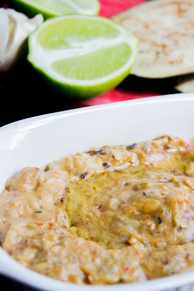 Spicy grilled garlic Lime Baba Ghanoush { Eggplant Dip }