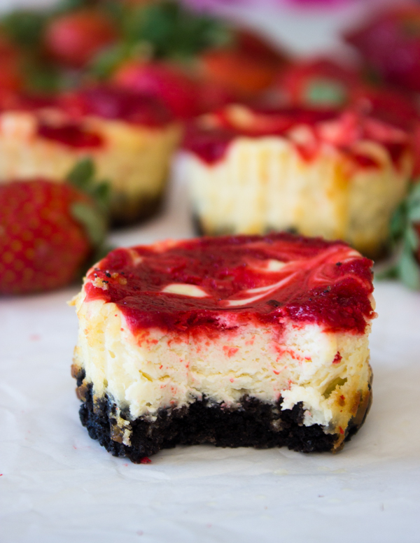Mini Strawberry Swirl Cheesecakes