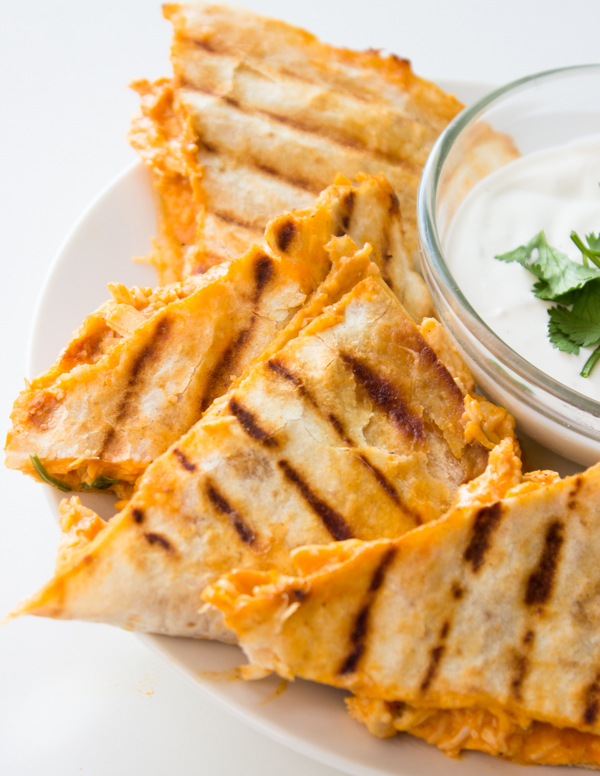 Lightened Up Buffalo Chicken Quesadillas Gimme Delicious