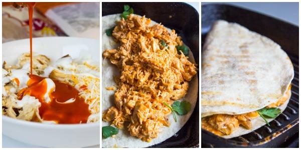 Lightened up Buffalo Chicken Quesadillas