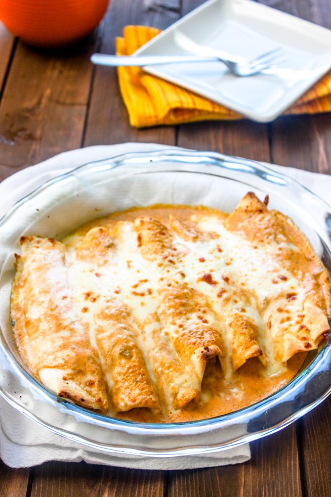 Easy Creamy Salsa Verde Chicken Enchiladas