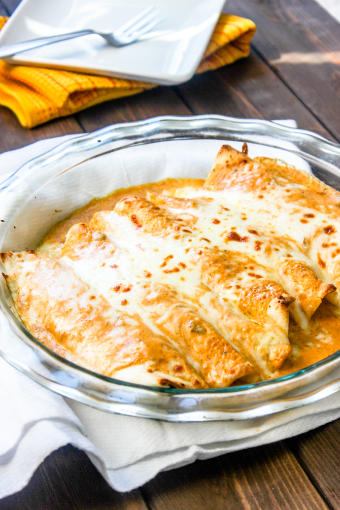 Easy Creamy Salsa Verde Chicken Enchiladas