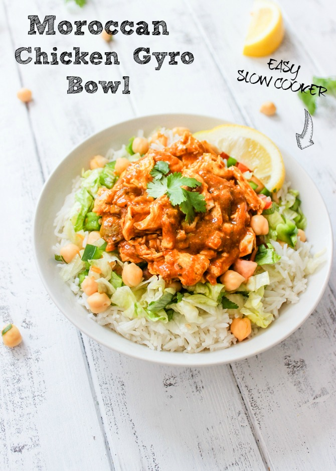 Easy Dinners: Slow Cooker Moroccan Chicken Gyro Bowls
