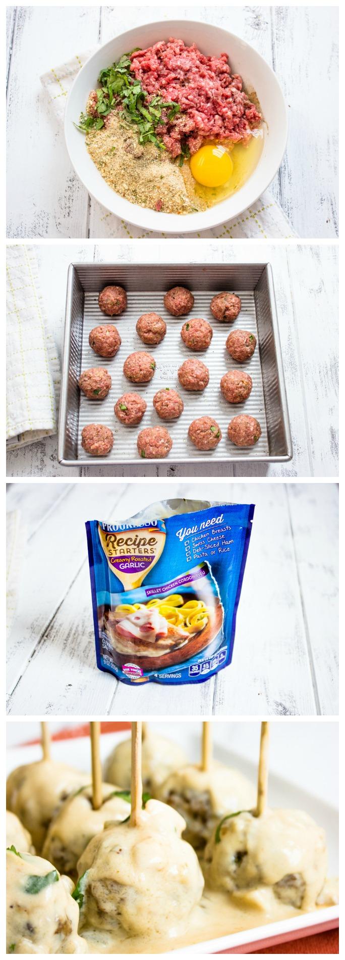 Easy Creamy Roasted Garlic Meatballs