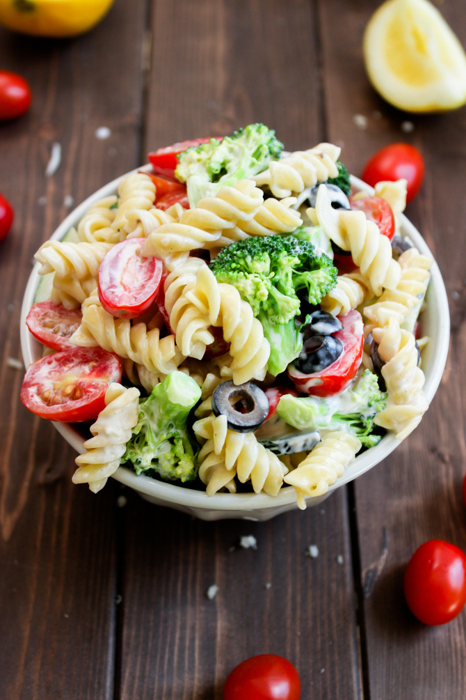 Pasta & Broccoli Salad with Creamy Lemon Dressing