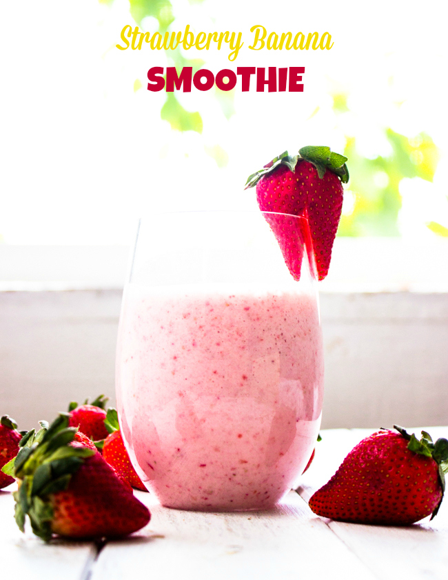 3 Ingredient strawberry banana smoothie