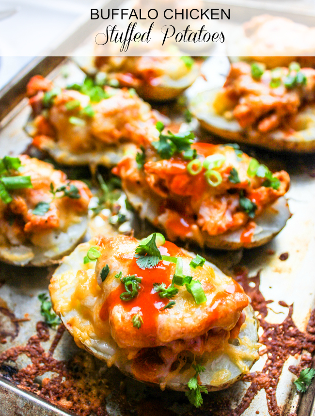 Buffalo Chicken Stuffed Potatoes