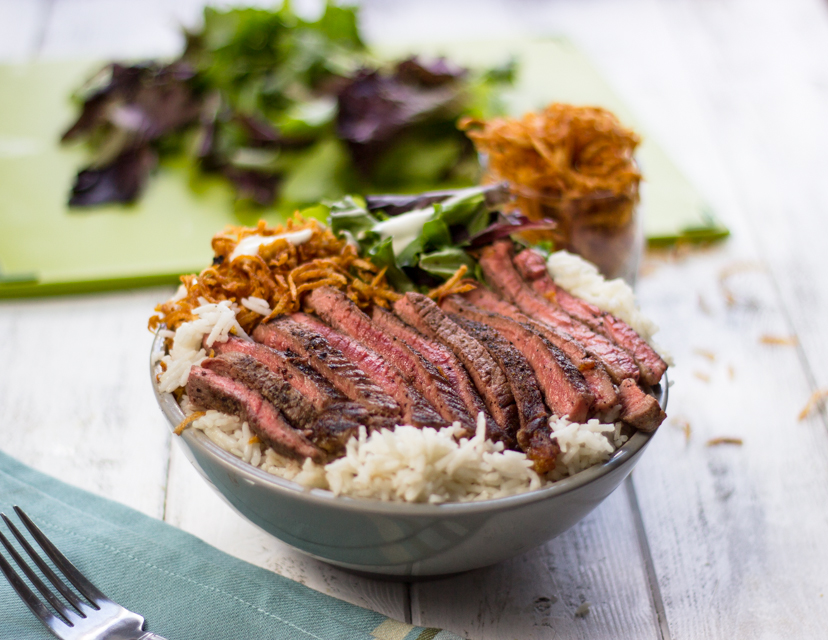 Easy Steak on Rice Bowls with Super Crispy Fries