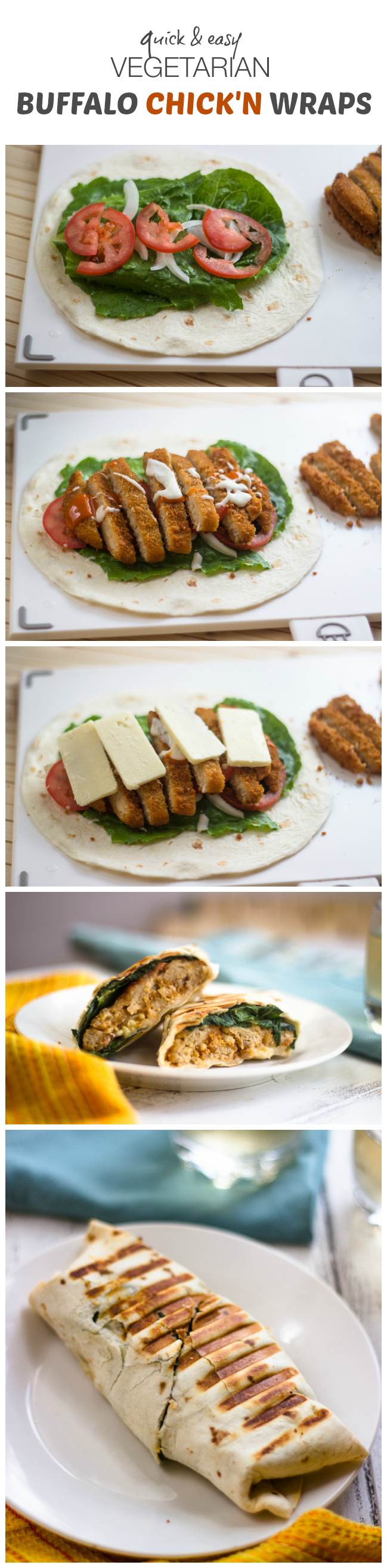 Quick & Easy Vegetarian Buffalo Chicken Wraps #healthy #veggies