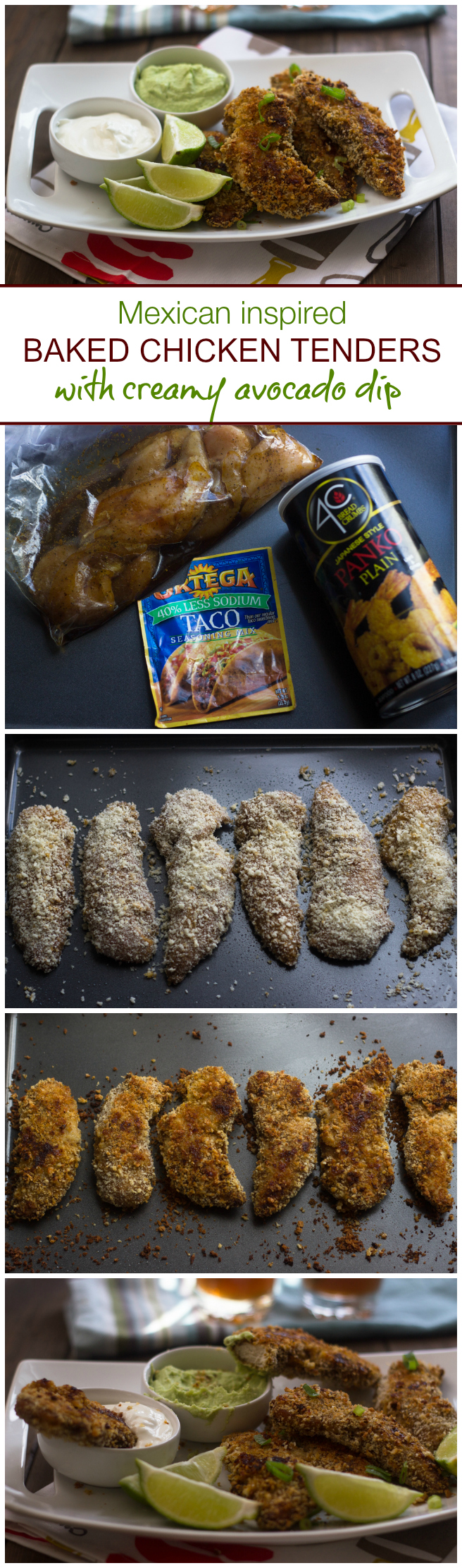 Mexican Inspired Baked Chicken Tenders with Creamy Avocado Dip