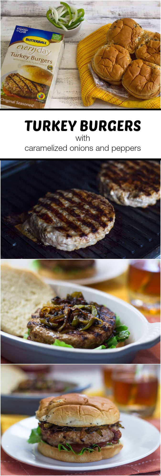 Turkey Burgers with Caramelized Onions and Bell Peppers
