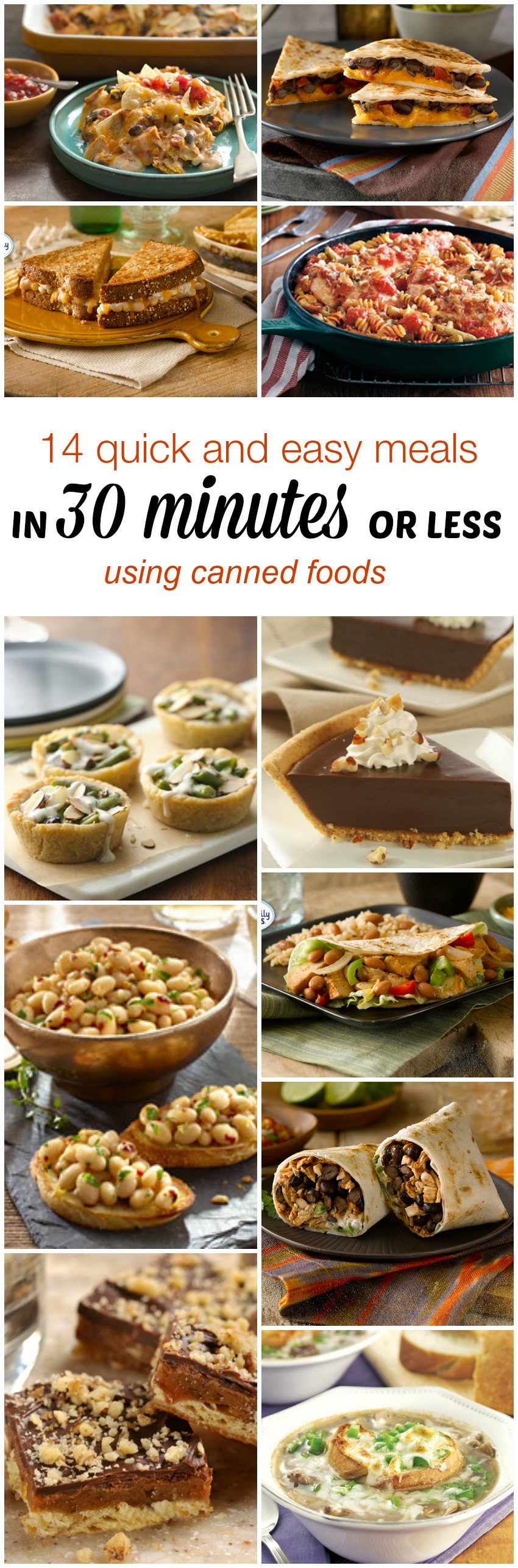 14 Quick and Easy Recipes (in 30 minutes or less) Using Canned Foods #Cansgetyoucooking