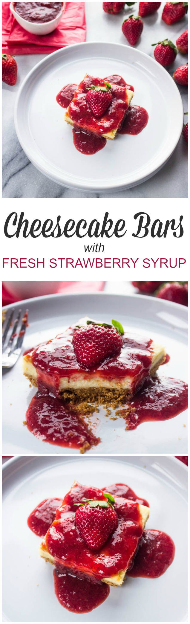 Cheesecake bars with Fresh Strawberry Syrup