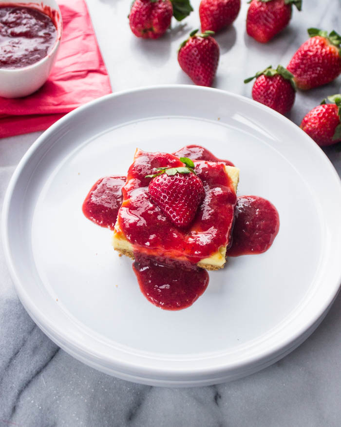 Cheesecake Bars with Strawberry Syrup