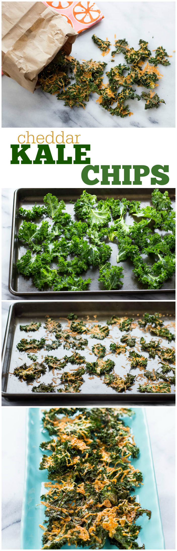 Baked Cheddar Kale Chips #quick #easy #healthy #cheesy