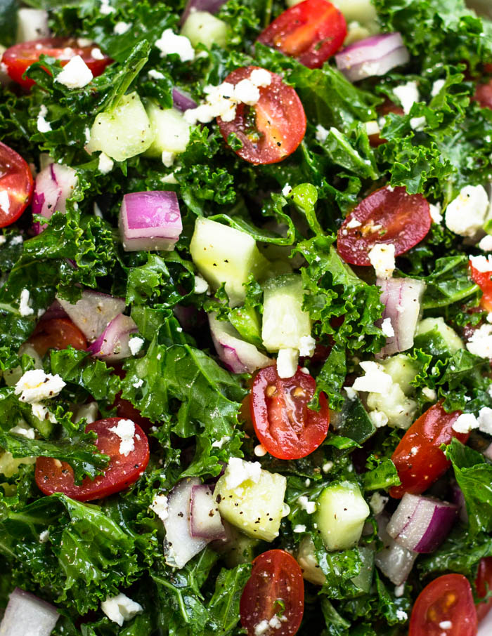 Greek Kale Salad with lemon Olive Oil Dressing  #Weightloss #recipes #skinny #fatburning
