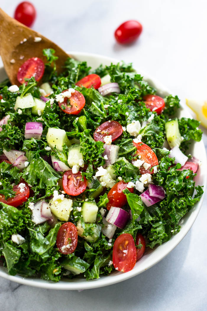 Greek Kale Salad With Lemon Olive Oil Dressing Weightloss Recipes Skinny Fatburning