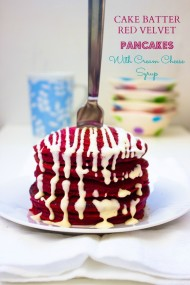 Cake Batter Red Velvet Pancakes with Cream Cheese Syrup-5