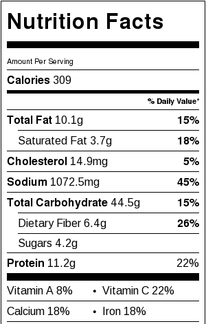 Crispy Black Bean and Rice Burritos Nutritional Facts