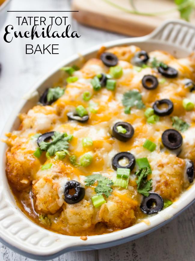 Tater Tot Enchilada Bake | Gimme Delicious