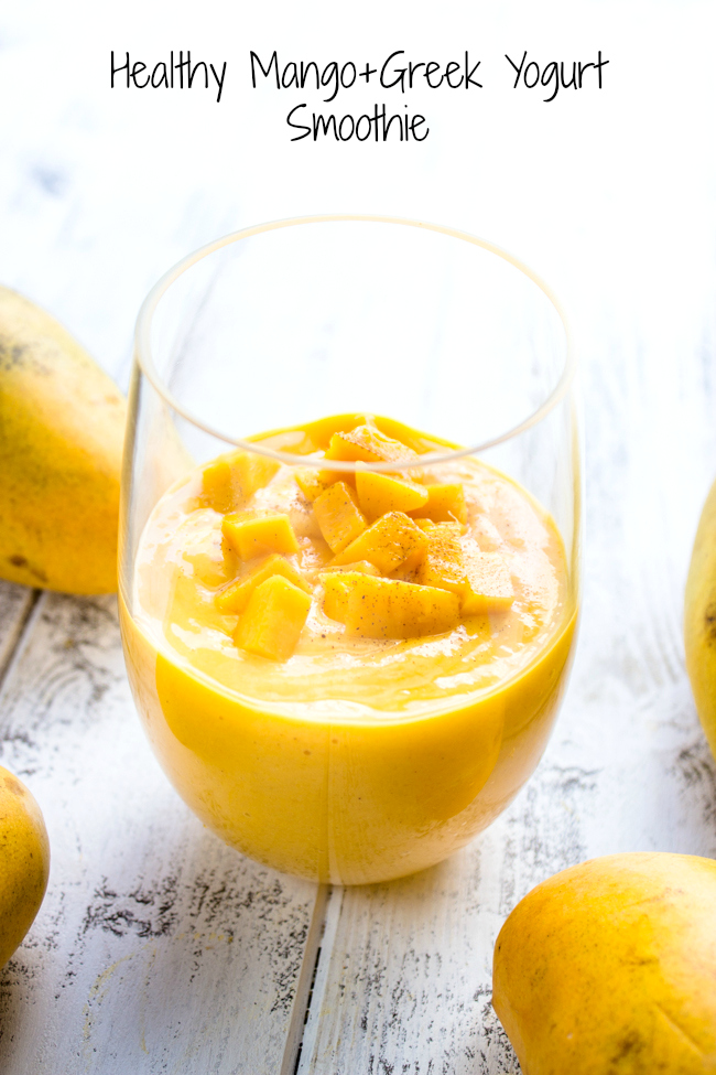Healthy Mango and Greek Yogurt Smoothie {3 Ingredients, No Sugar ...
