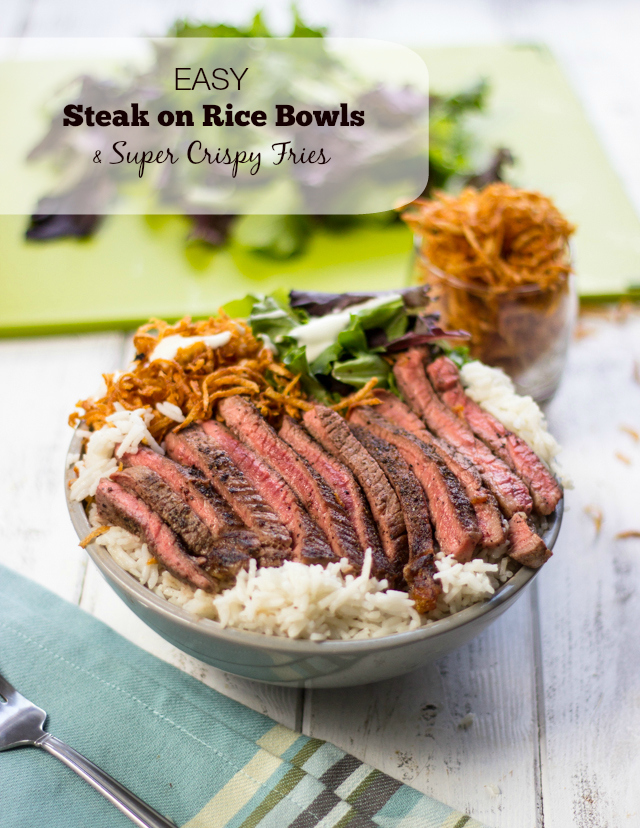 Easy Steak On Rice Bowls With Super Crispy Shoestring Fries Gimme Delicious
