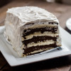 Easy Chocolate Vanilla Ice Cream Cake (with ice cream sandwiches)