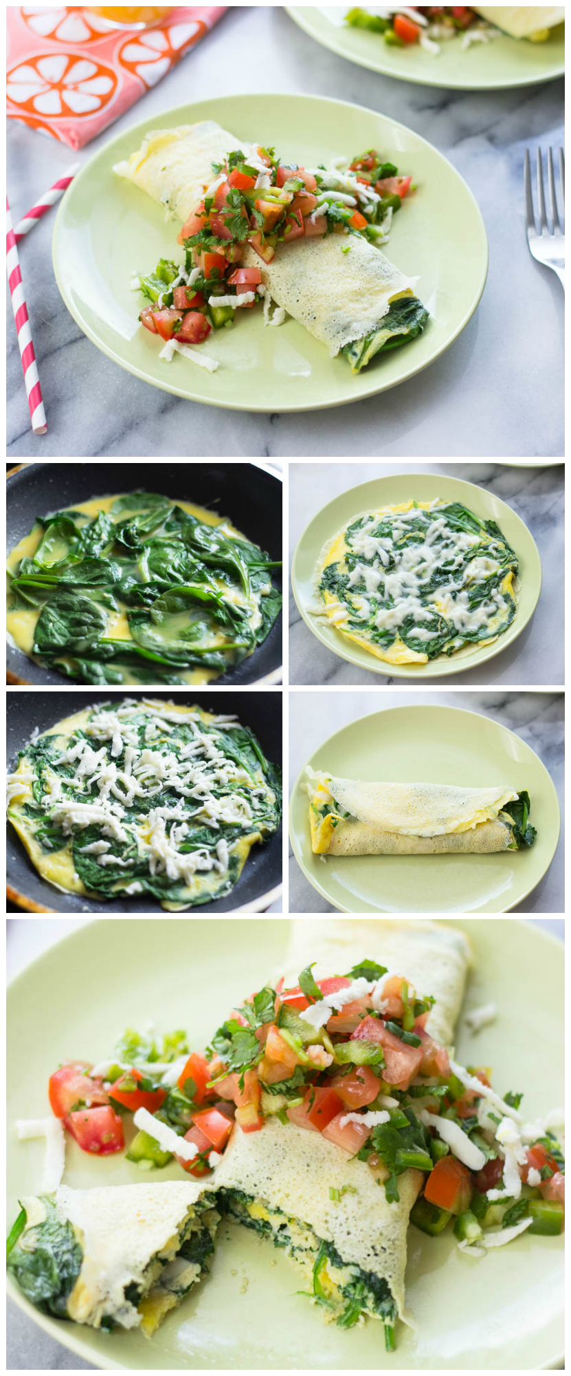 Spinach Omelette Crepes