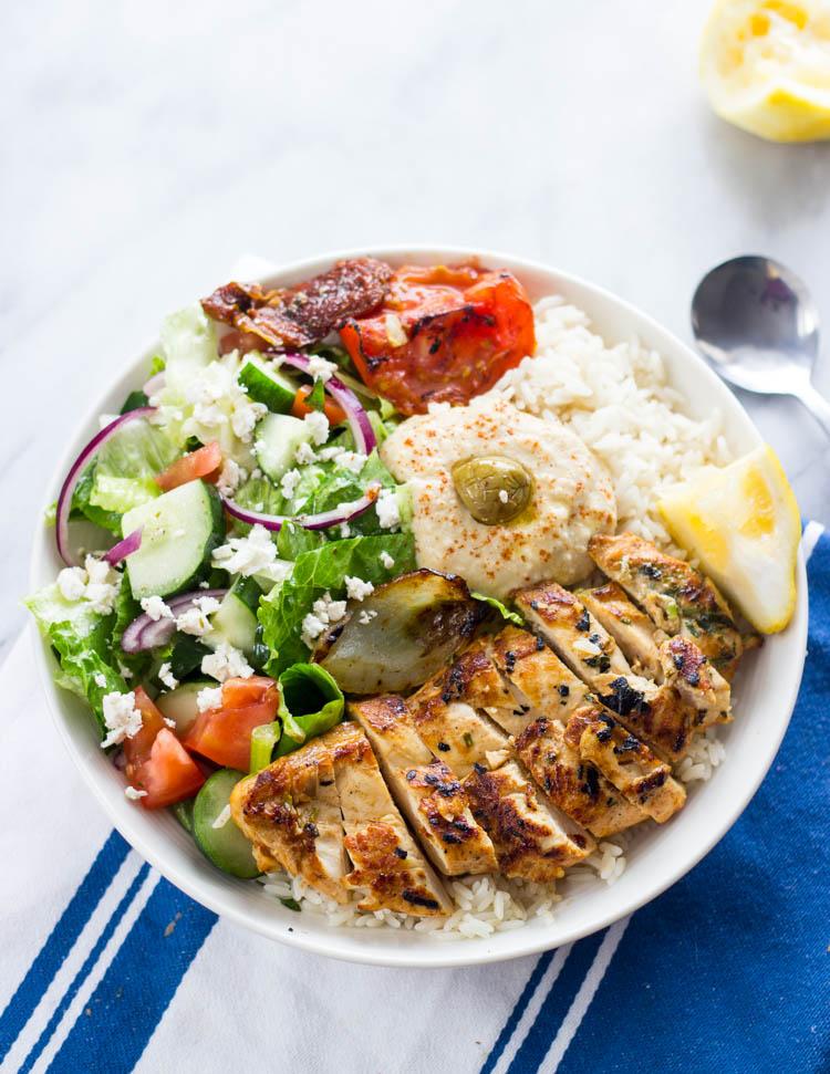 Mediterranean Chicken rice bowls