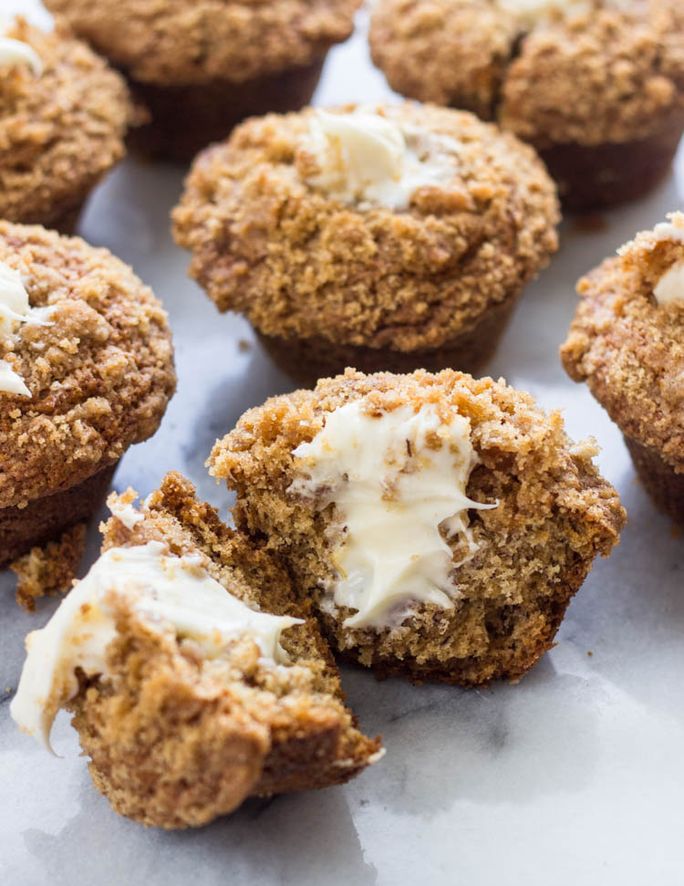 Cream Cheese Frosting Filled Banana Crumb Muffins
