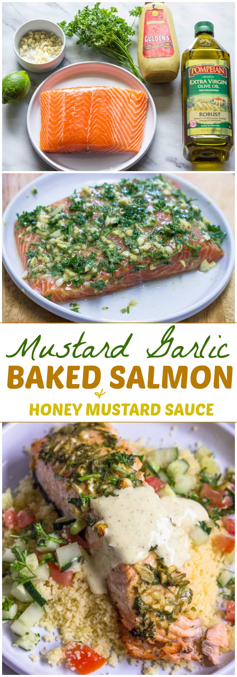 Mustard Garlic Baked Salmon with Honey Mustard Sauce (Easy, Delicious ...