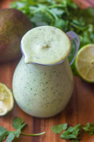 Healthy creamy avocado dressing