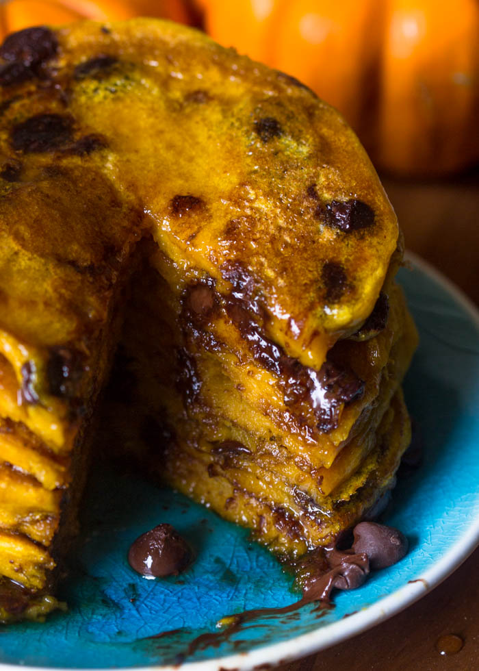 Moist Pumpkin Chocolate Chip Pancakes