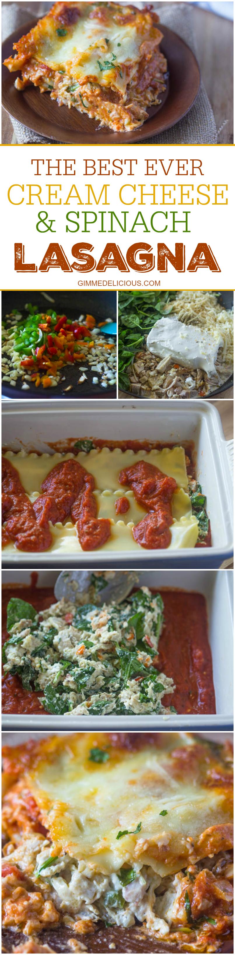 Creamy Chicken, Spinach & Cream Cheese Lasagna #gimmedelicious #leftover
