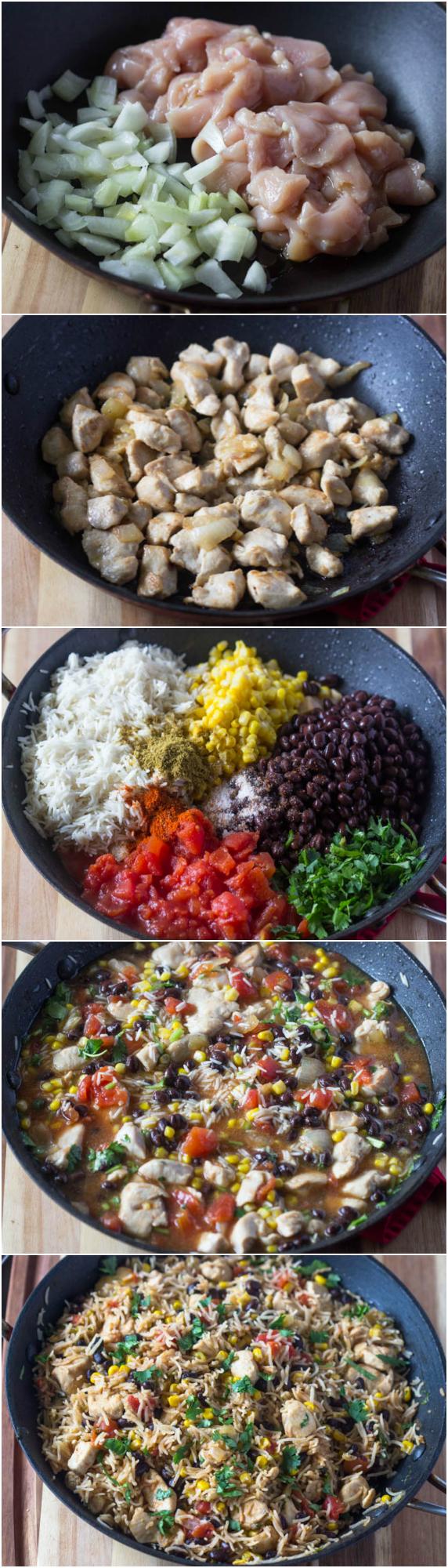 One Pot Chicken Burrito Bowls
