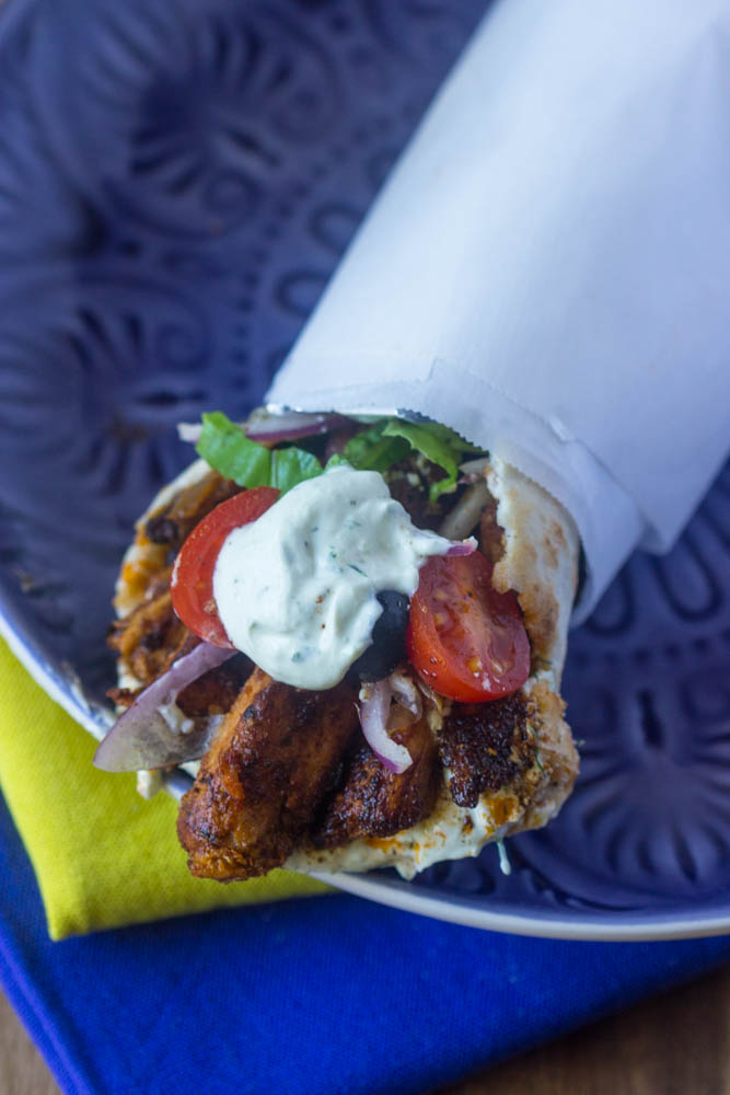 Can you believe these chicken shawarma are vegetarian and vegan (without the white sauce)!