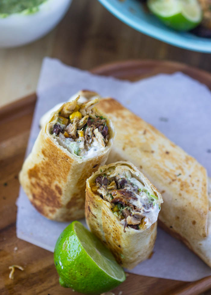 Healthy Crispy Fiesta Chicken Burrito Wraps