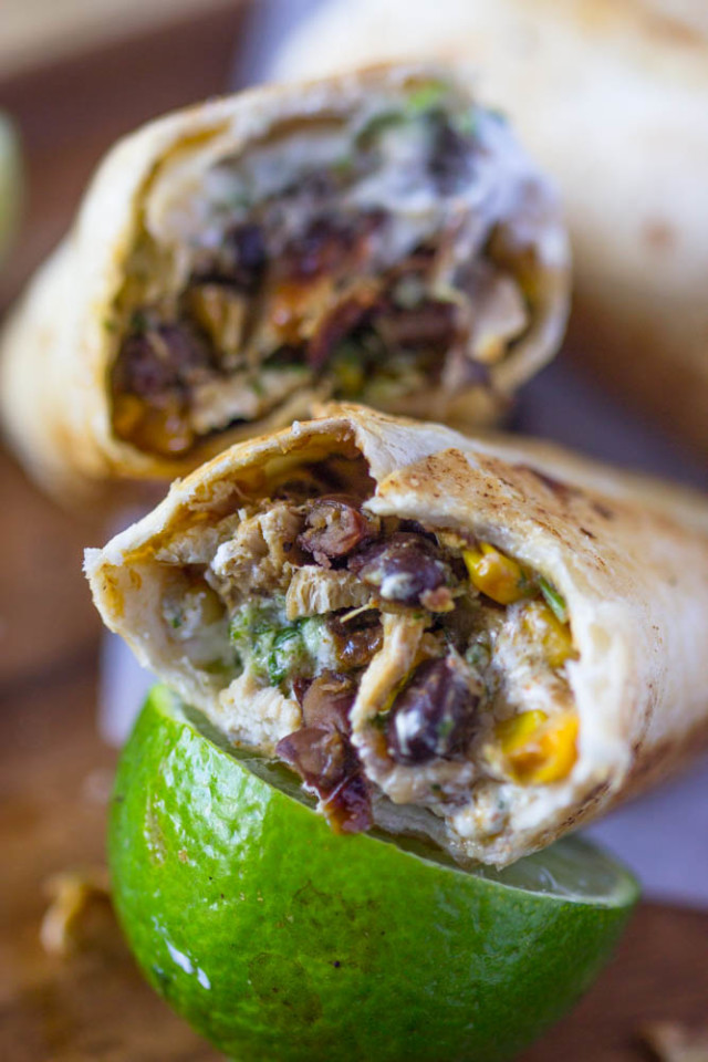 Healthy Crispy Fiesta Chicken Burrito Wraps Gimme Delicious
