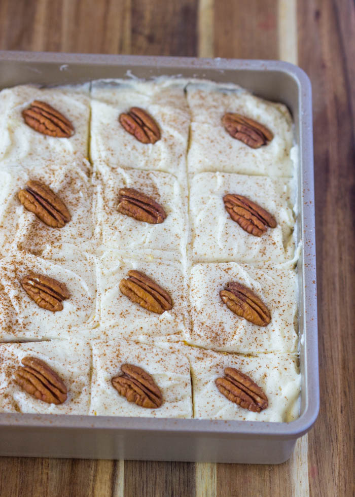 Pumpkin Cake with Cream Cheese Frosting #sheetcake #easy #spiced #bars #gimmedelicious