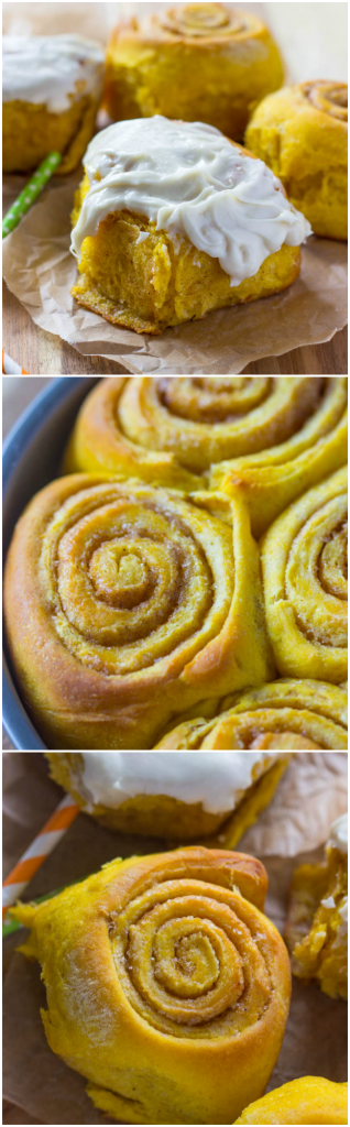 The Best ever Soft and Fluffy Pumpkin CInnamon Rollls with Cream Cheese Frosting!