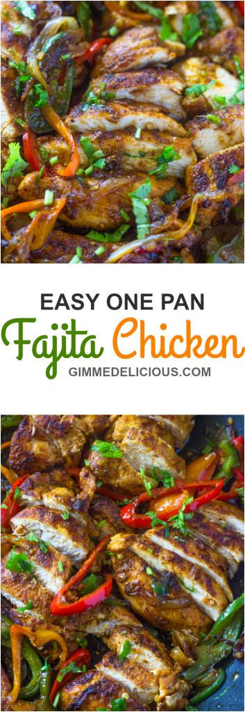 EASY ONE PAN FAJITA CHICKEN #HEALTHY #QUICK #MEXICAN #DINNER #RECIPES #FOOD