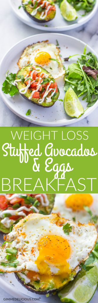 Weight-loss Salsa Stuffed Avocado and Eggs Breakfast #Healthy #lowcarb #Paleo