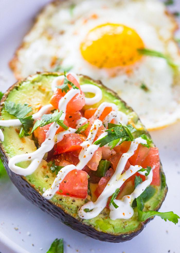 Weight loss Salsa Stuffed Avocado & Eggs Breakfast (Paleo, Low-carb, Skinny)