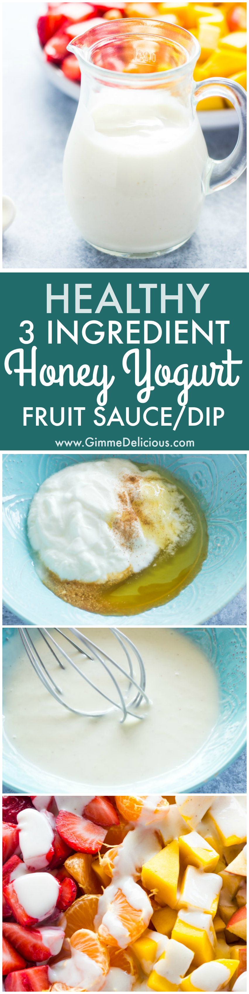 3 Ingredient Healthy Honey Yogurt Fruit Sauce / Dip