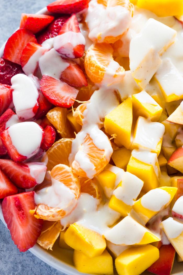 Fruit Salad With Healthy Honey Yogurt Sauce Gimme Delicious