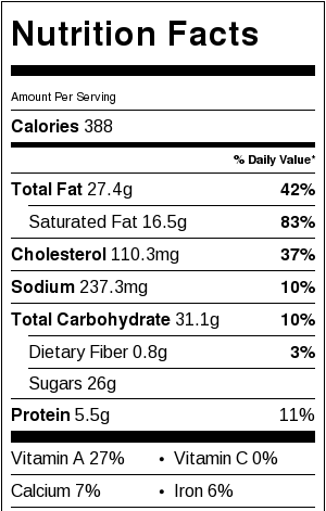 Nutella Swirl Cheesecake Bars Nutritional Facts